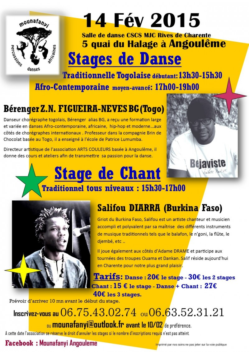 Flyer Stage Bérenger Salif 14.02.2015