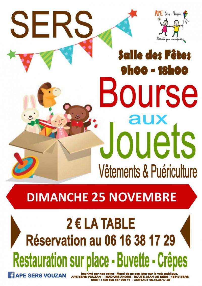 BOURSE AUX JOUETS à SERS LE 25/11Organisé par l'APE Venez nombreux faire des affaires à l'approche de Noël!A la salle des fêtes, dès 9h