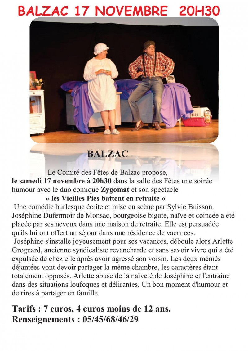 17 NOVEMBRE Salle des fêtes 16430 Balzac
